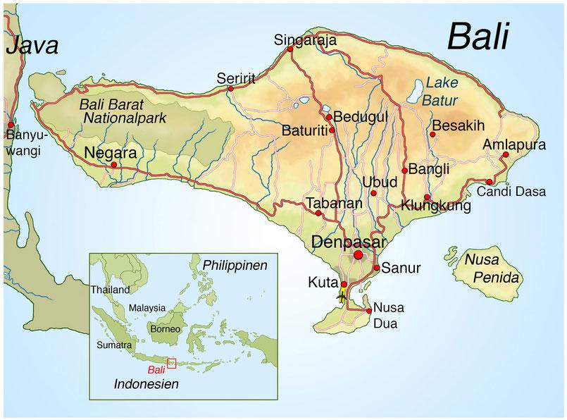 Bali Karte mit Sehenswürdigkeiten