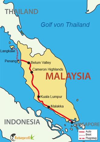 Reiseroute Malaysia Highlights mit Badeurlaub auf Langkawi